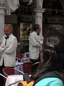 The mairtre d's of Piazza san Marco. Real Venetians never eat here. Only Venusians.